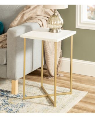 Walker Edison 16 Inch Square Side Table With Faux Marble Top And