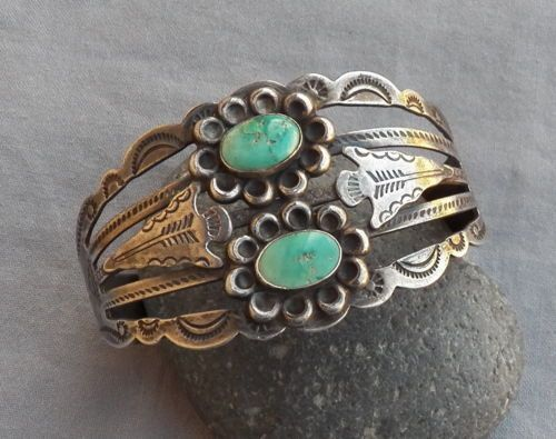 Old Vintage Fred Harvey Era Silver Arrow Green Turquoise Cuff ...