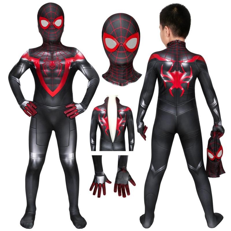 Spider Man Kids Costume Spiderman Miles Morales Ps5 Cosplay Suits In 2021 Spiderman Kids Costumes Miles Morales
