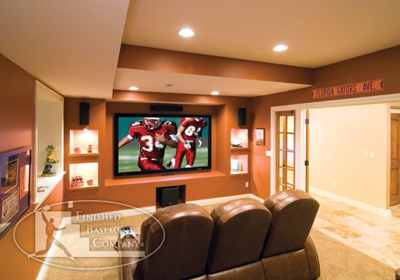 In Wall Speakers Home Theater for basement tv wall. like the cutout shelves and in wall speakers