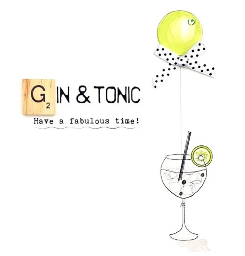 Gin Tonic Bexyboo Scrabbley Neon Birthday Card Cards Neon Birthday Birthday Cards Gin And Tonic