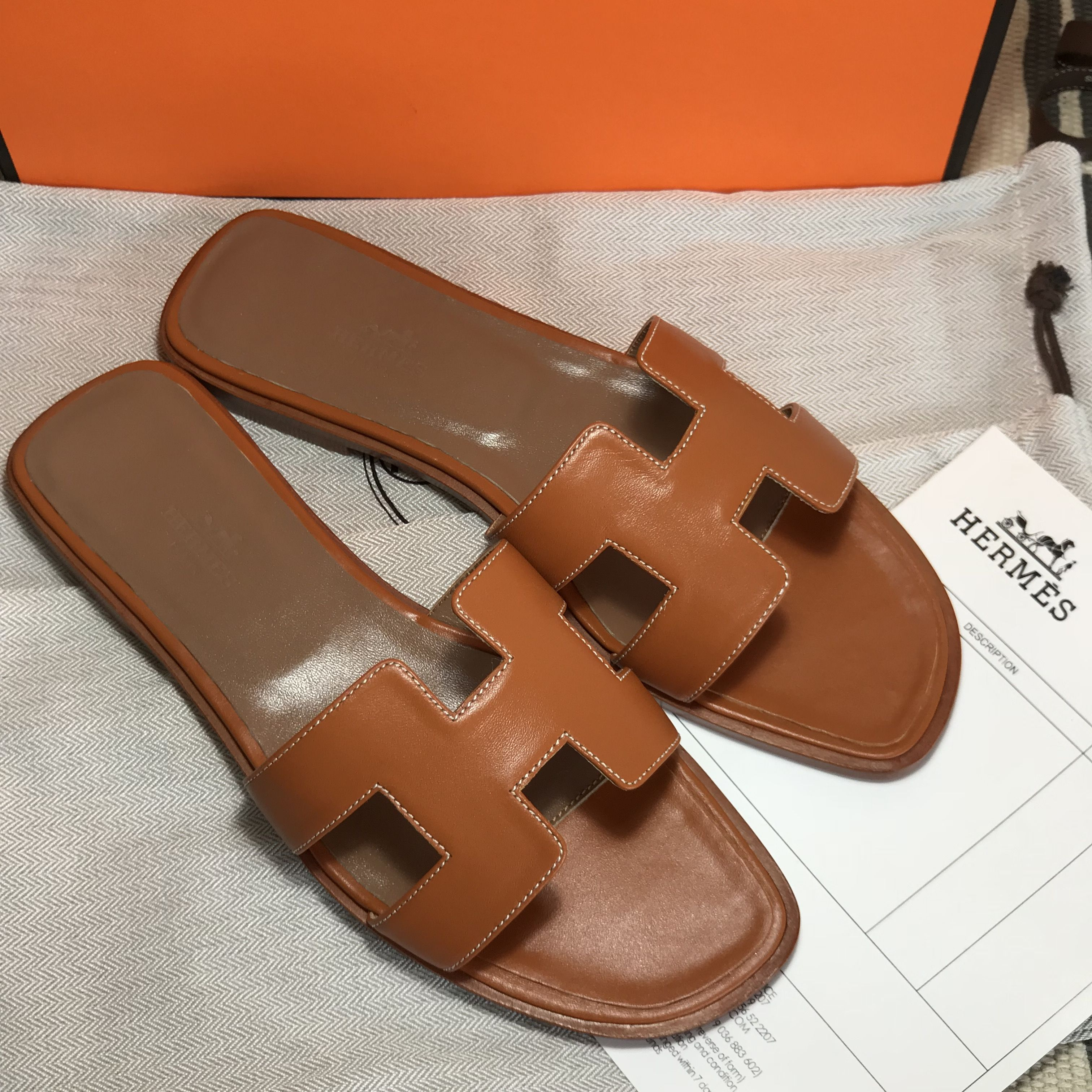 Slippers ShoesIn Leather Slides Hermes BrownFab 2019 PkXZiOu