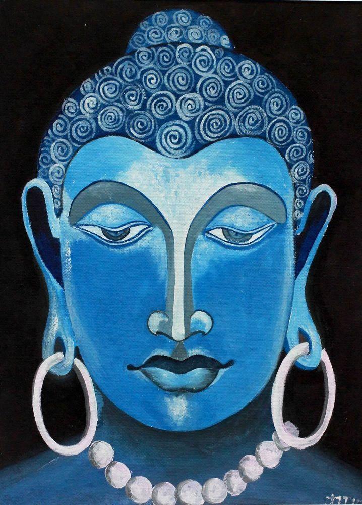 Original Watercolor Painting Buddha Art Signed Unframed 'Calmness' NOVICA India