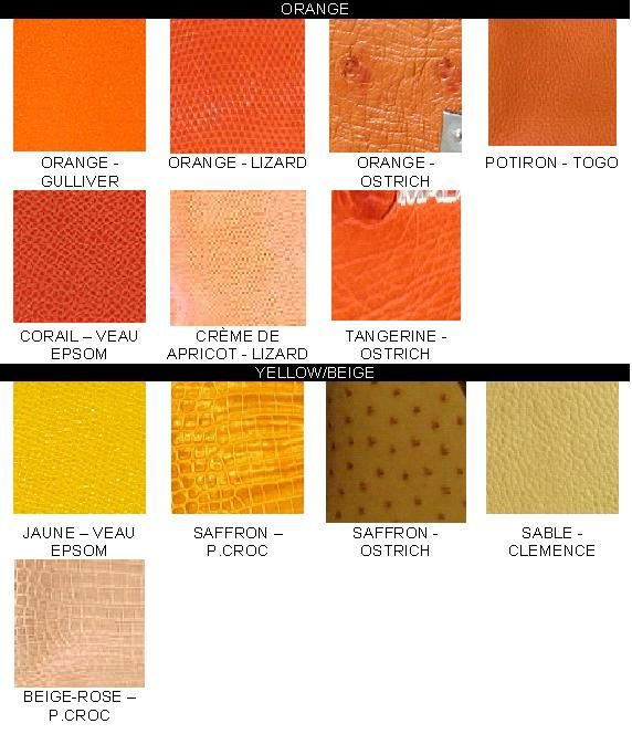 Reference Sample Of Colour Chart Hermes Birkin Colours Color Color Chart