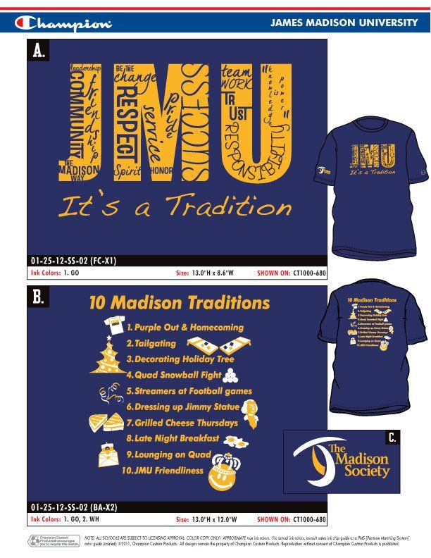 The Madison Society Top 10 Madison Traditions T-shirt.  Get yours at the JMU Bookstore!
