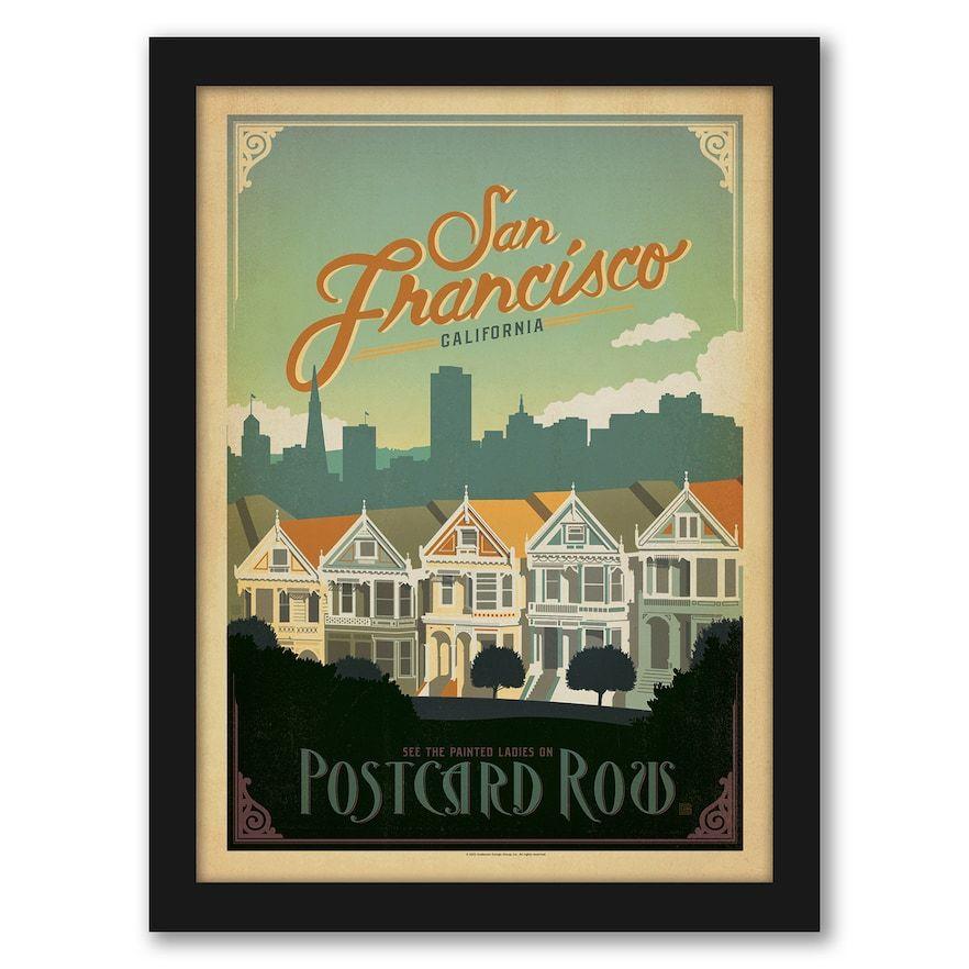 "Americanflat ""San Francisco Postcard Row"" Framed Wall Art"