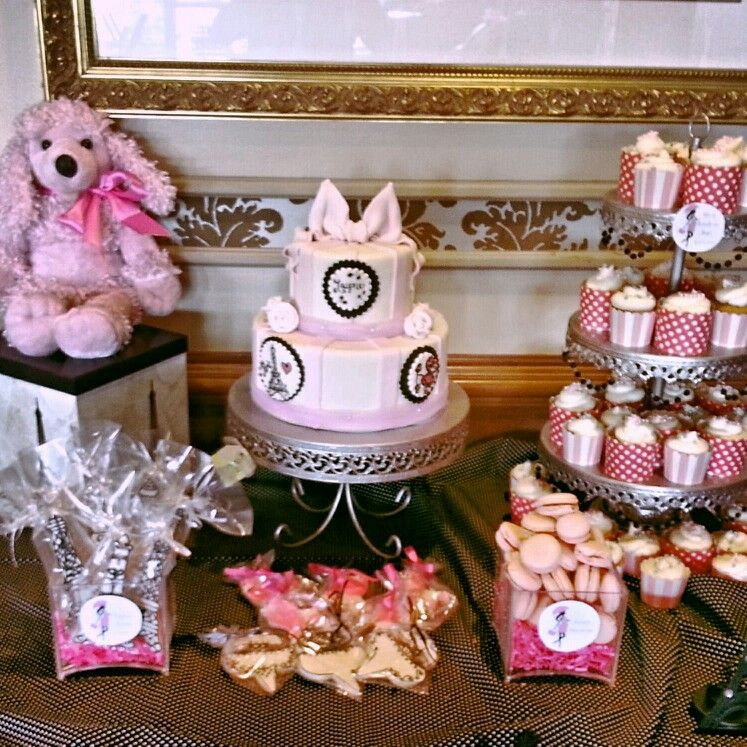Parisian theme baby shower confectionary table... cake, cupcakes, custom cookies, French macaroons, & candy
