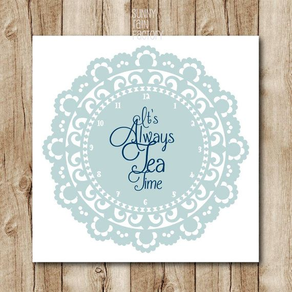 Blue Kitchen Decor, Alice In Wonderland Quote, Tea Quote Printable Art, Tea  Printables