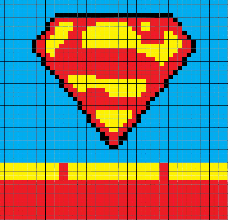 Superman Inspired Uniform 50 x 50 C2C Graph Graphgan More | Crochet ...