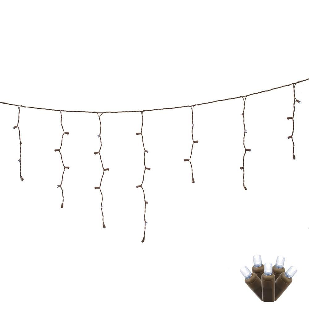 70 Pure White LED Lights / Brone Wire 9Ft. Wide Angle Icicle ...