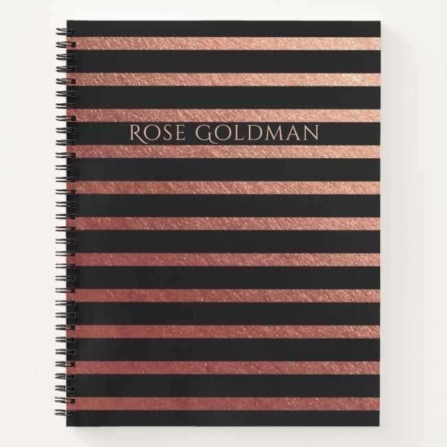 Black And Rose Gold Foil Personalized Notebook