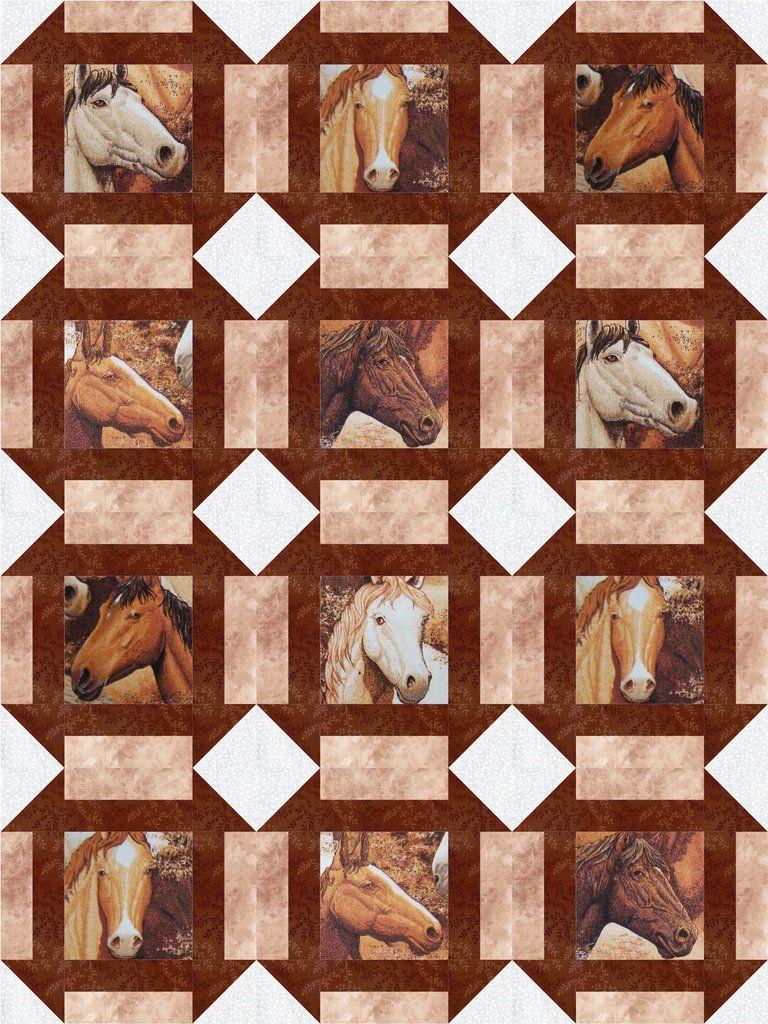 "Horses Portraits Western 12 Pre-Cut Quilt Kit 9"" Blocks"