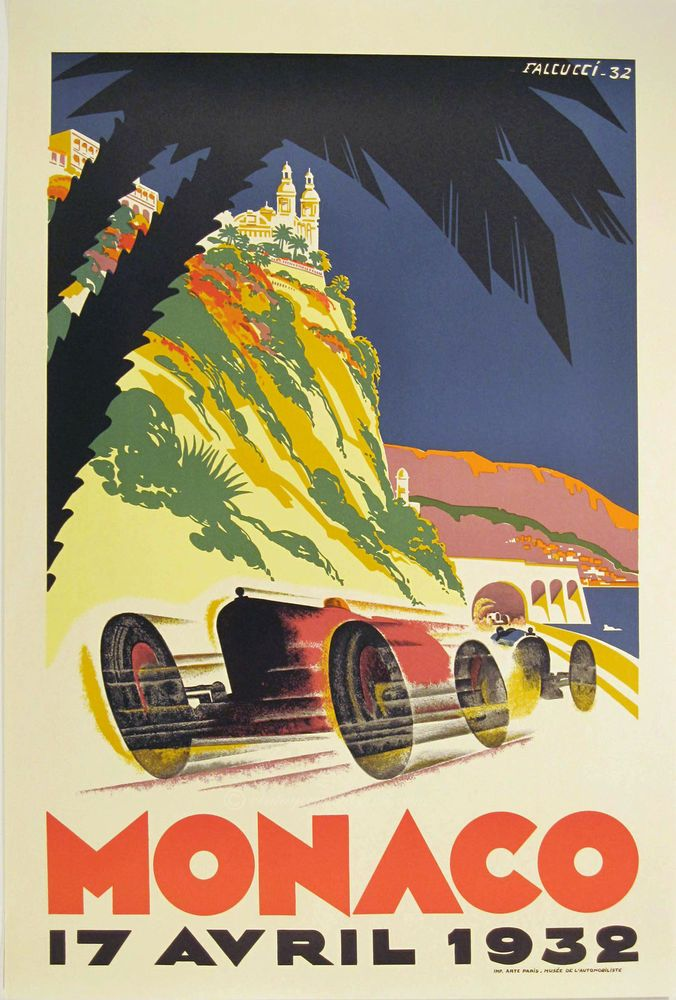 VINTAGE POSTER Monaco Retro old style wall art print home color ...