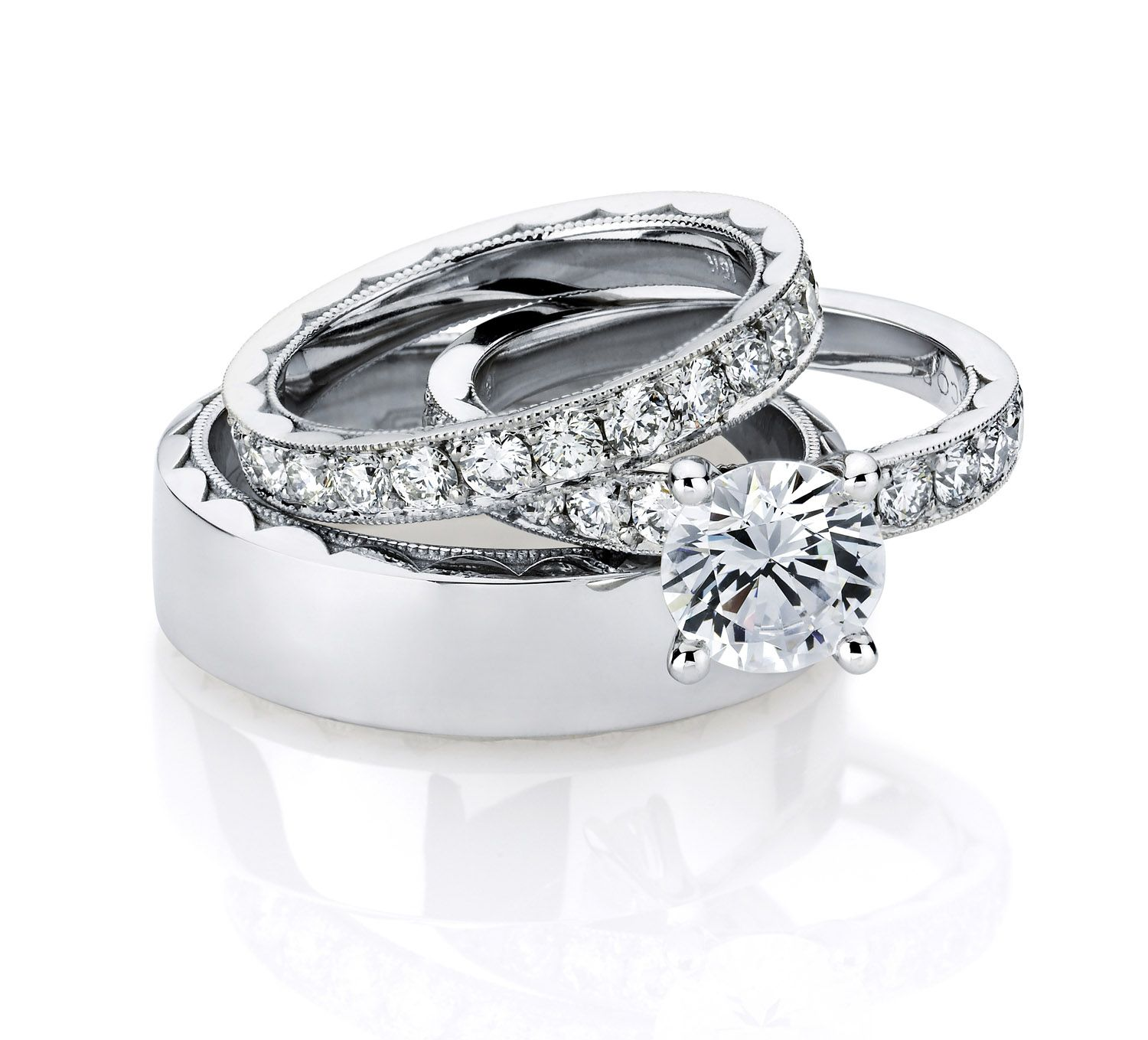 Tacori\'s engagment ring with matching lady and gents wedding bands ...