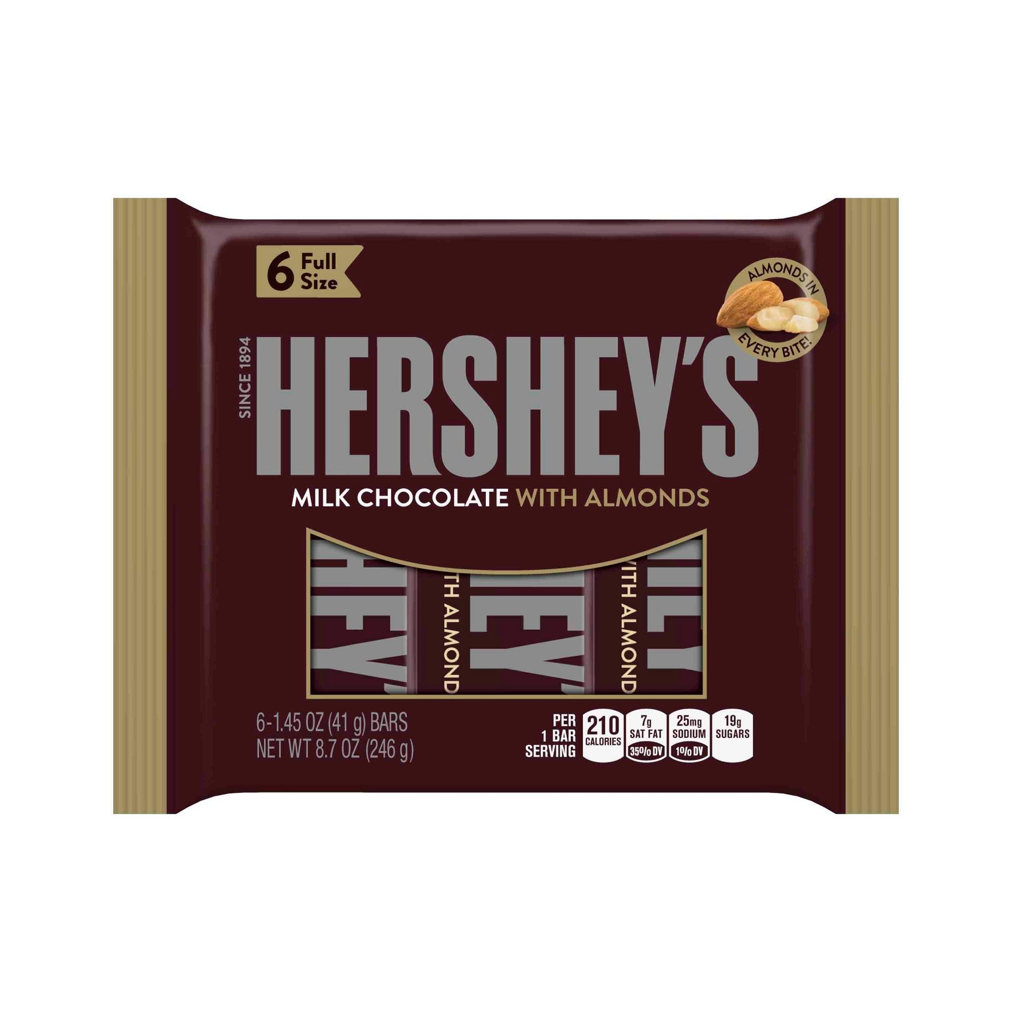 Hershey S Milk Chocolate With Almonds Bars 6ct With Images