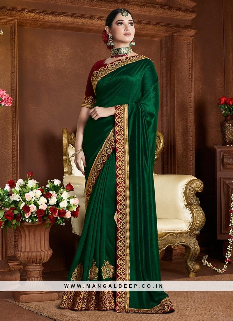 f20a8a58a4ea61 Designer Embroidered Beautiful Green Color Silk Saree #green #silk #saree  #designersaree #woman