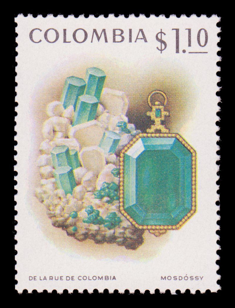 004 Stamp with Emerald, Colombia 1972 Postage stamp art