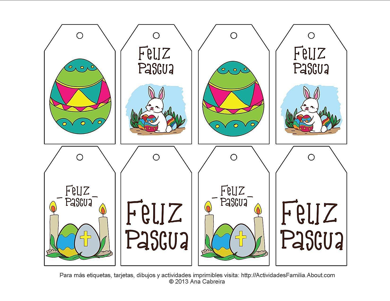 Etiquetas de pascua para imprimir y colorear. Adornan canastas de ...