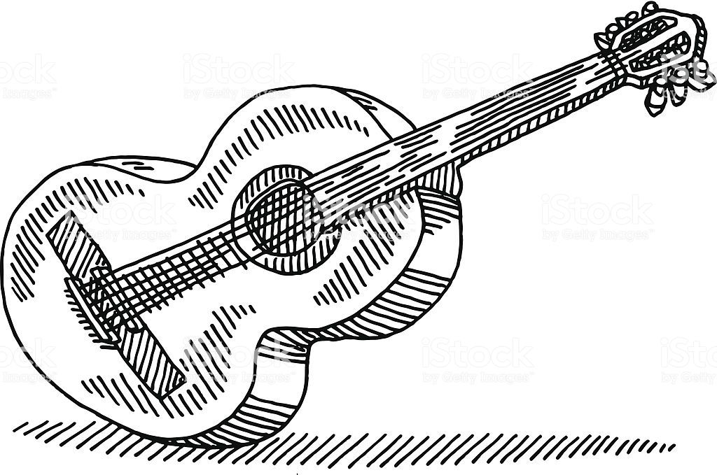 Hand Drawn Vector Drawing Of An Acoustic Guitar Black And White Guitar Drawing Guitar Illustration How To Draw Hands