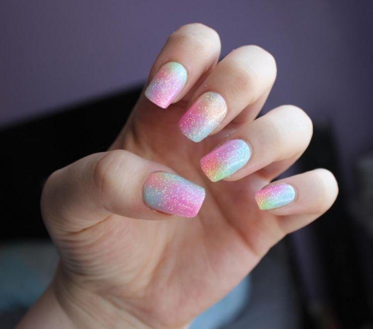 Berühmt nageldesign-sommer-ombre-effekt-farbverlauf-glitzer | Nails in #JV_39