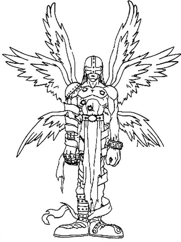 Angemon Is An Angel Digimon With Six Shining Wings Coloring Page Coloring Sun In 2020 Coloring Pages Free Coloring Pages Angel Coloring Pages