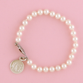 Heartstrings 6mm Cultured Pearl Bracelet with Monogrammed Round Charm