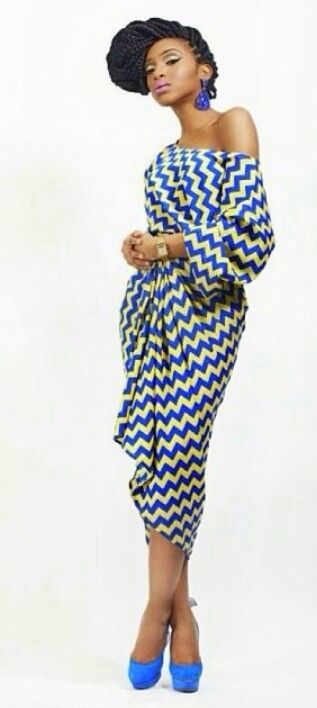 Chevron patterned midi dress