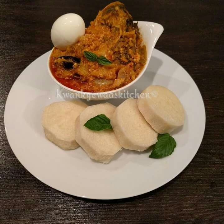 Cooked yam with garden egg stew with fish and egg