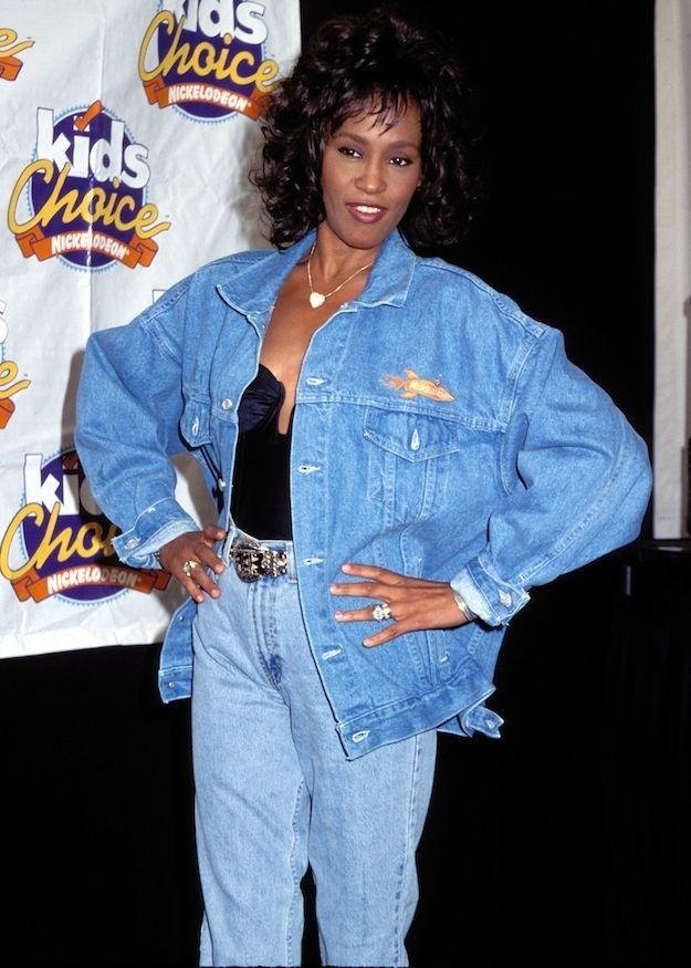Denim On Denim Totally Classic As Demonstrated By Whitney Houston Houston Fashion 80s Fashion Fashion