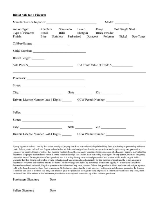 Standard Bill Of Sale Form  Purchasing A Firearm Via Private