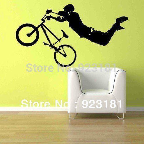 Garçon de vélo BMX géant Wall Art sticker autocollant bricolage - bricolage a la maison
