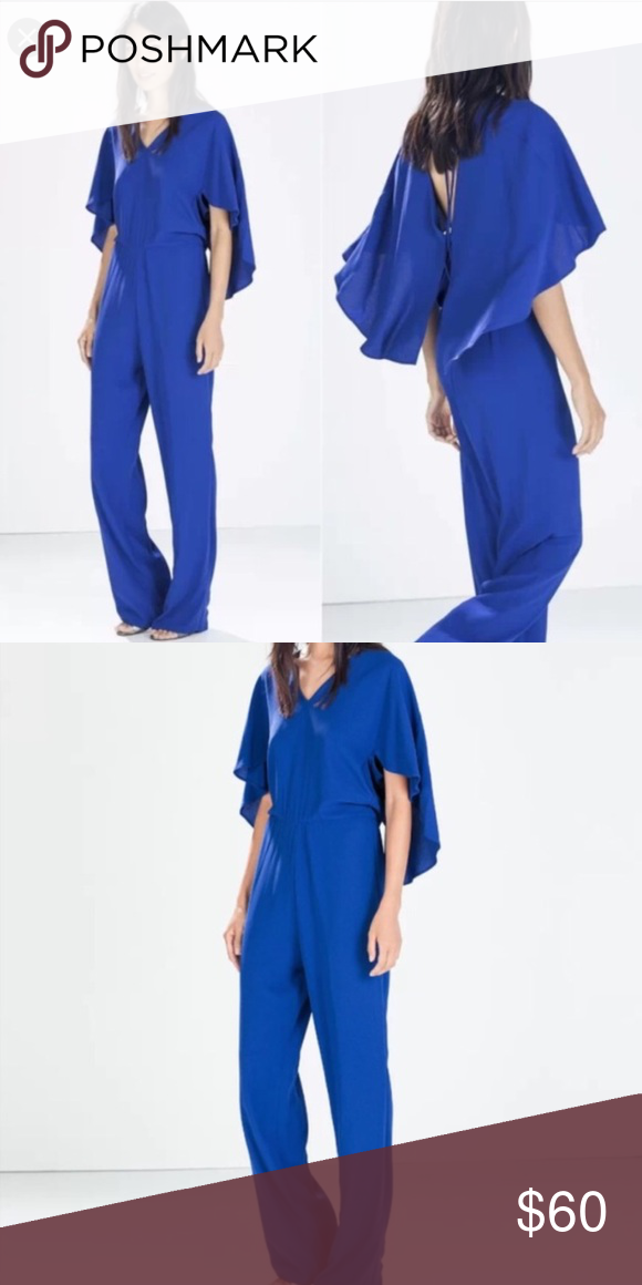 458223fe7b5 ZARA WOMAN Royal Blue Cape Jumpsuit Small Like new! Worn only one time. No  flaws whatsoever. Such a nice piece for a formal event or dressed down with  ...