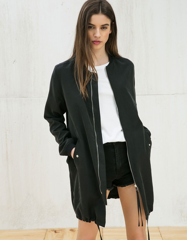 Black dress green jacket bershka