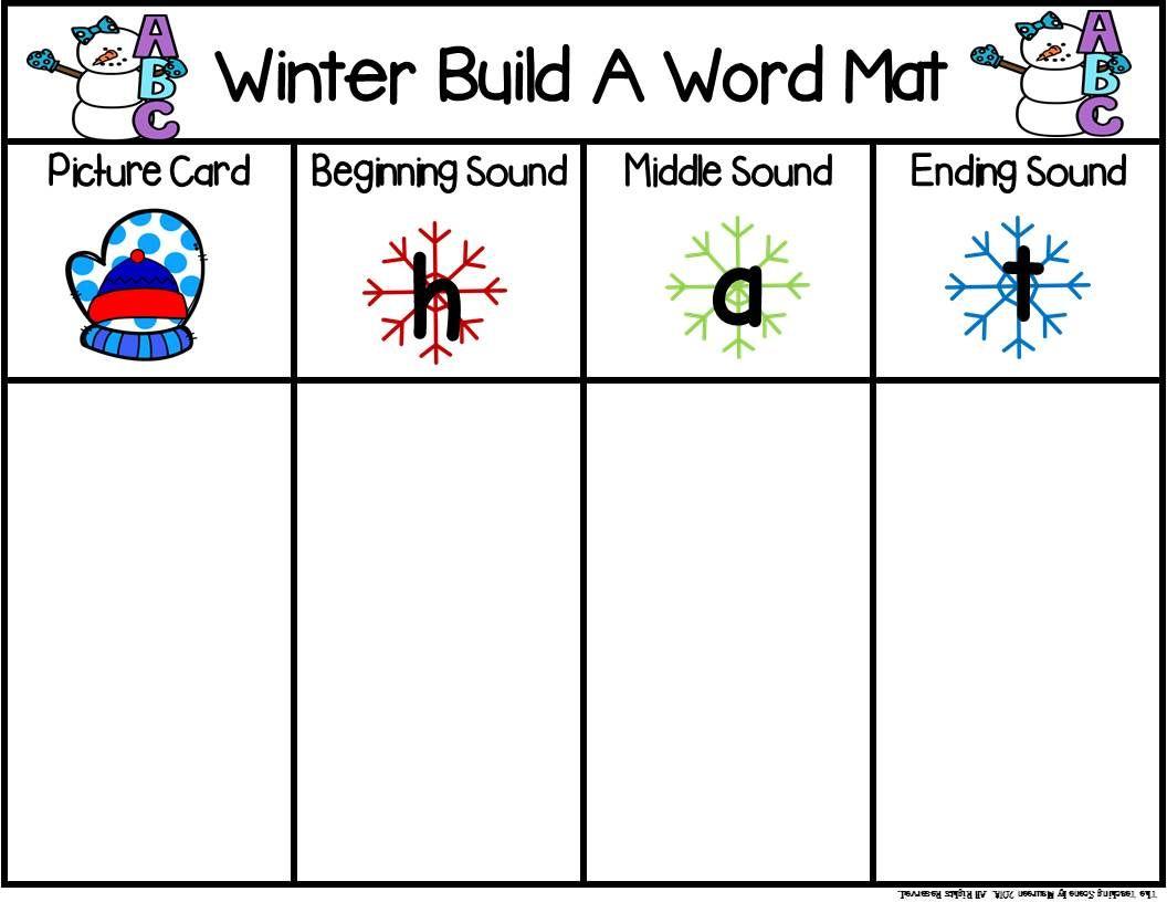 Winter Build A Cvc Word Includes Digraphs Amp Blends