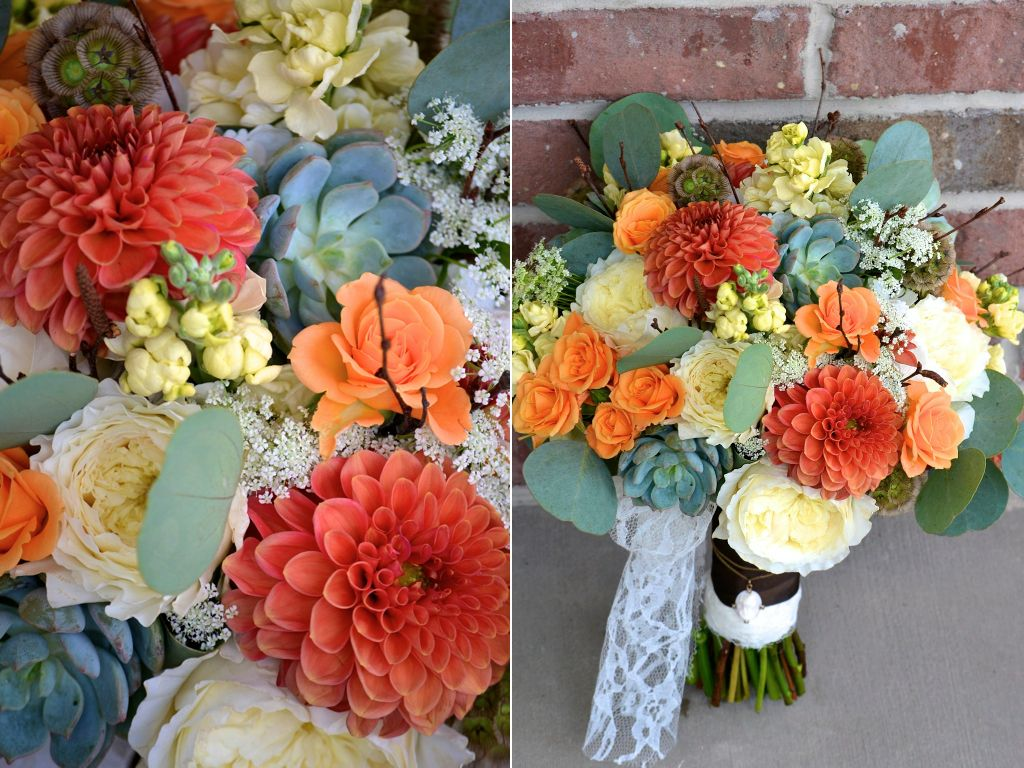 Dahlias garden roses spray roses succulents scabiosa for Flower sprays for weddings