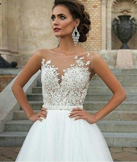 Sheer lace top wedding dresses