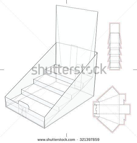 Product Display and Advertisement Cardboard Stand with Blueprint - new blueprint background image