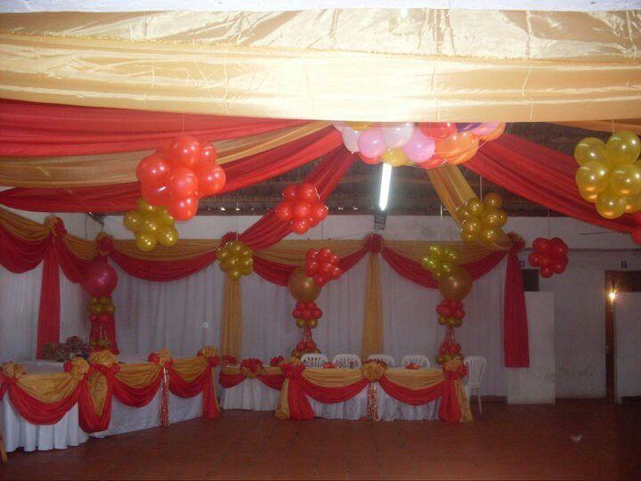 Decoraciones con telas y globos eventos decoraciones for Decoracion con telas