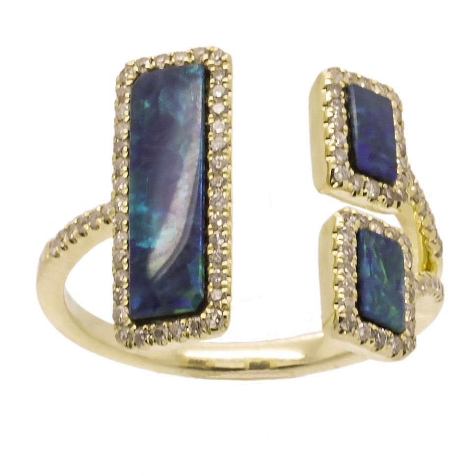 Yellow Gold and Diamond Opal Ring