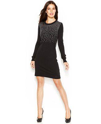 f53f10193d8 MICHAEL Michael Kors Long-Sleeve Studded Sweater Dress