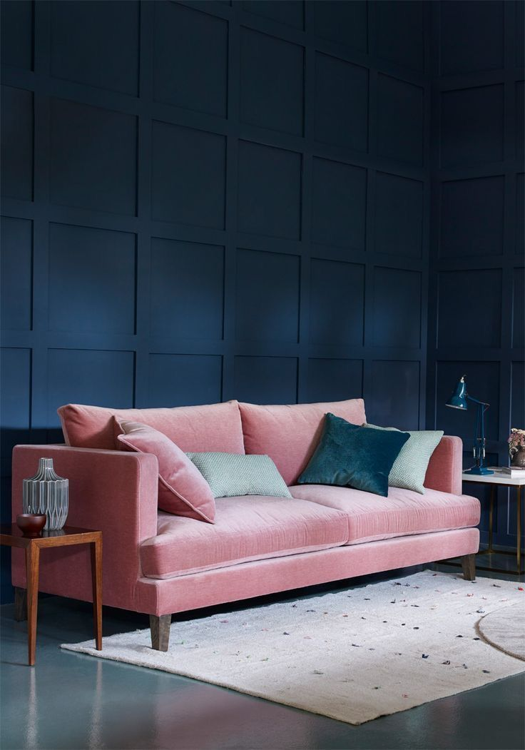 Living Room Home House Apartment Decor Decoration Modern Pink Sofa Dark Wall Navy Blue Panel Wall Pink Living Room Pink Sofa Dark Living Rooms #navy #blue #and #pink #living #room