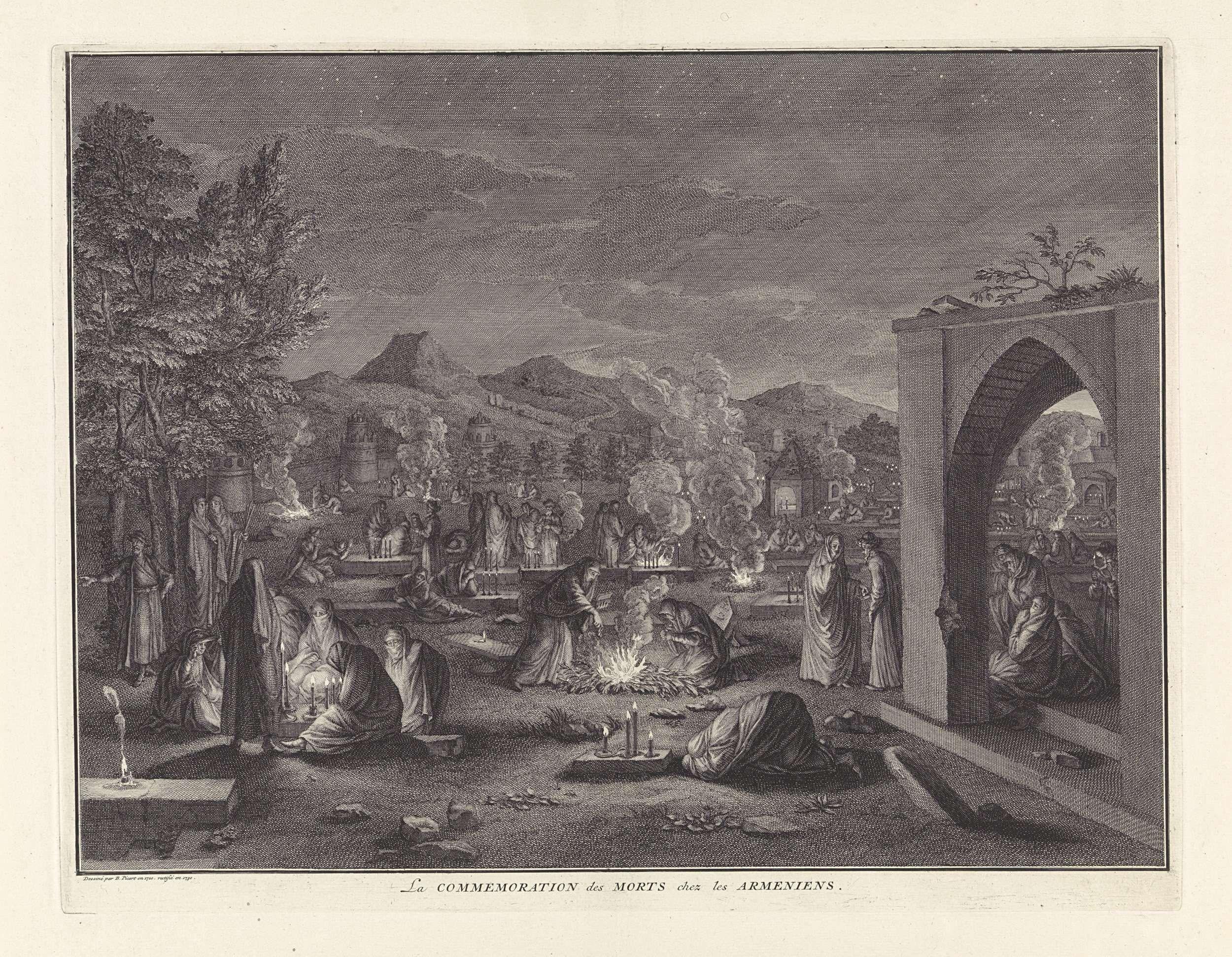 anoniem   Dodenherdenking bij de Armeense christenen, workshop of Bernard Picart, 1710 - 1730   Op de dag dat de Armeense Christenen het kruisfeest vieren, eind augustus, gaan ze 's nachts naar de begraafplaatsen om daar vuren aan te steken en te weeklagen.