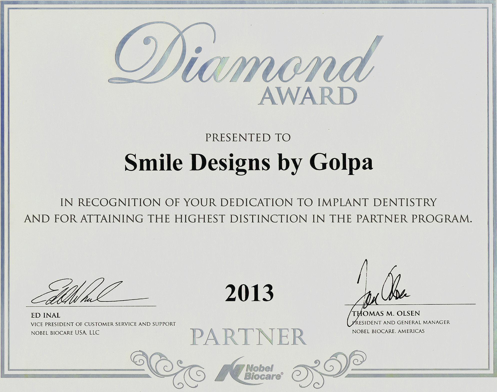 Nobelbiocare golpa diamond partner certificate all on 4 dental nobelbiocare golpa diamond partner certificate all on 4 dental implants las vegas all on 4 xflitez Choice Image