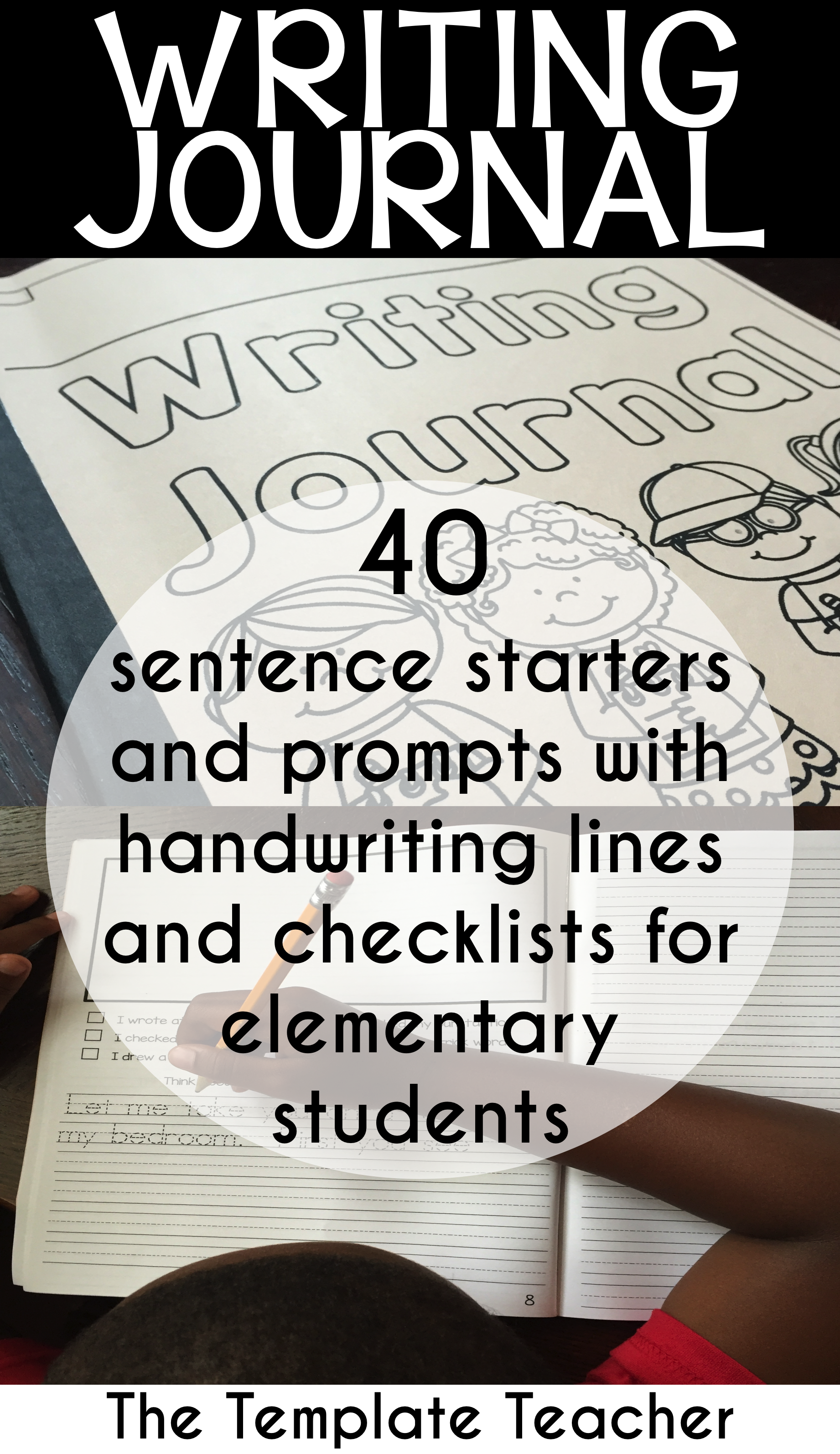 Writing Journal with Sentence Starters and Handwriting Lines for ...