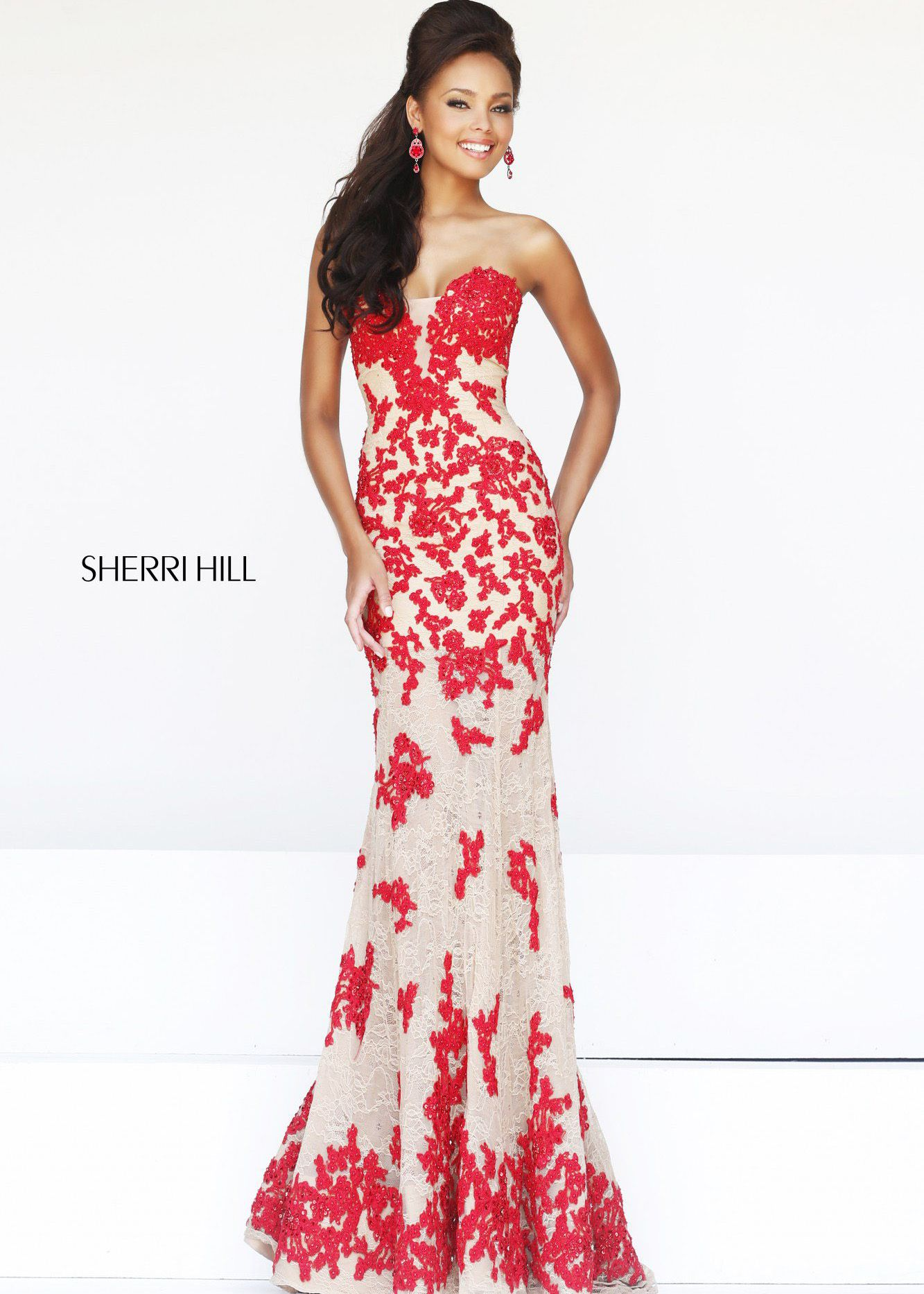 Sherri Hill 11120 - Nude/Red Strapless Lace Dress - RissyRoos.com ...