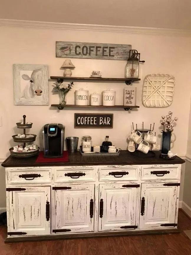 40+ best home coffee bar ideas for all coffee lovers 15 | recipeess.com #coffeebarideas