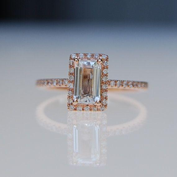 0,9 ct Baguette rechteckiger Smaragd geschnitten weiße Saphir 14k rose gold-Diamant-ring