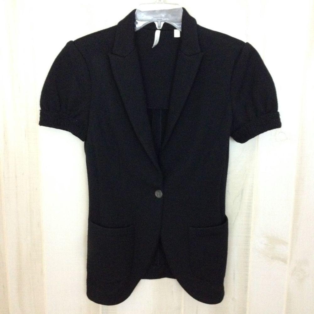 Details about IISLI Women's Black Short Sleeve Wool Cardigan ...