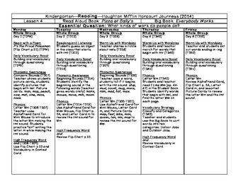Kindergarten Lesson Plan Journeys Lesson  Freebie  Teacher
