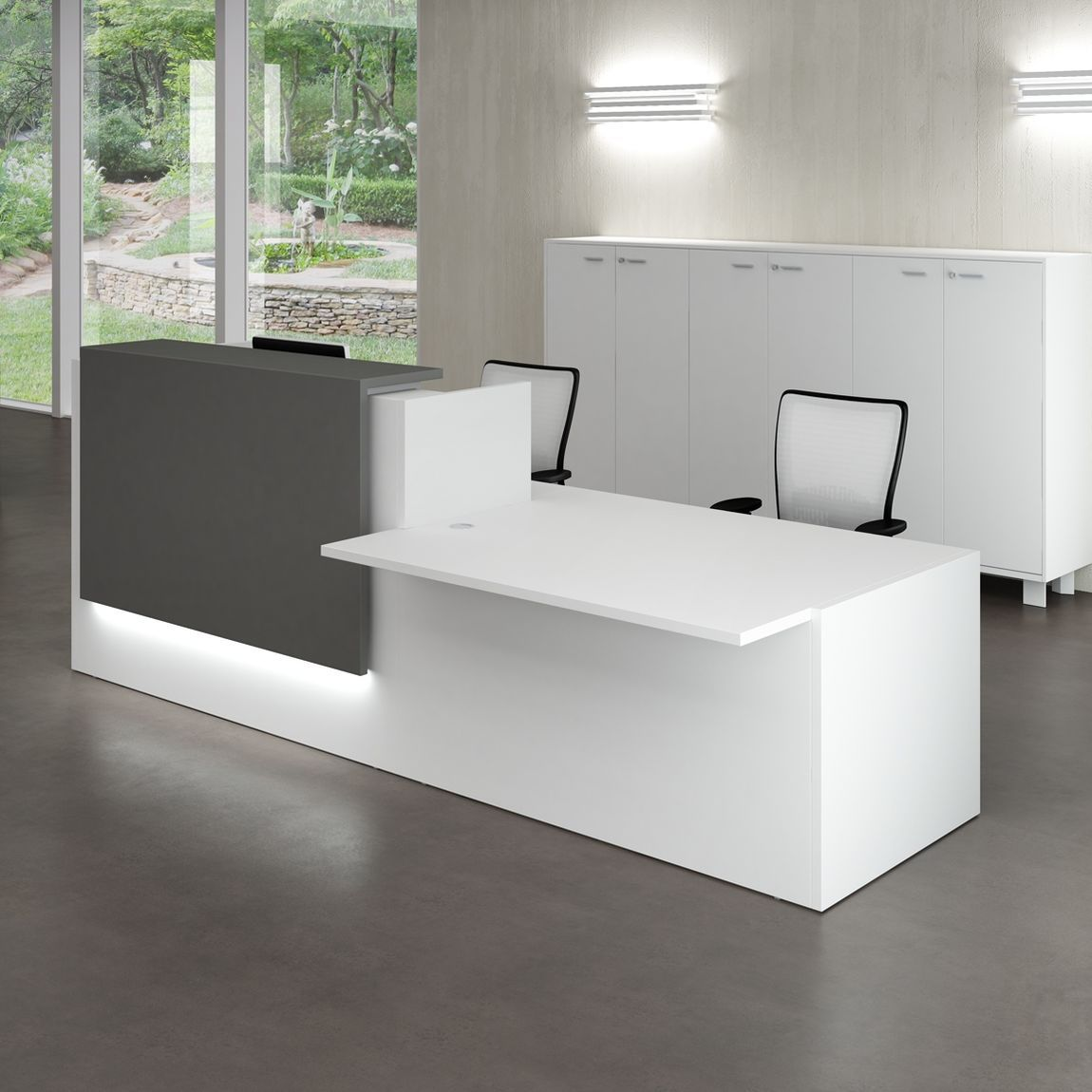 Curved 1200mm Reception Desk With Shelf Avalon Online Reality .